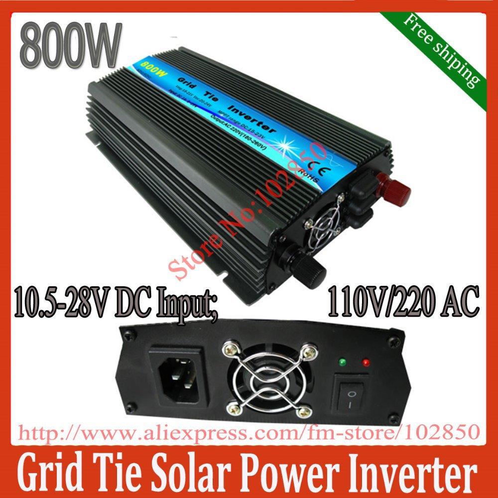800W MPPT solar micro inverter,10.5-28V DC input,120V/230VAC output,grid tie solar inverter,pure sine wave inverter(China (Mainland))
