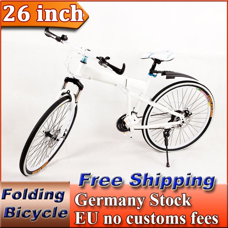26 inch 21 Speed Mountain Suspension Folding Bike Bicycle Portable Road Female City Cruiser Bike Double Disc Brake(China (Mainland))