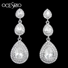 Long crystal earrings wedding silver long earings fashion jewelry rhinestone red earrings with stones brincos ers-h21(China (Mainland))