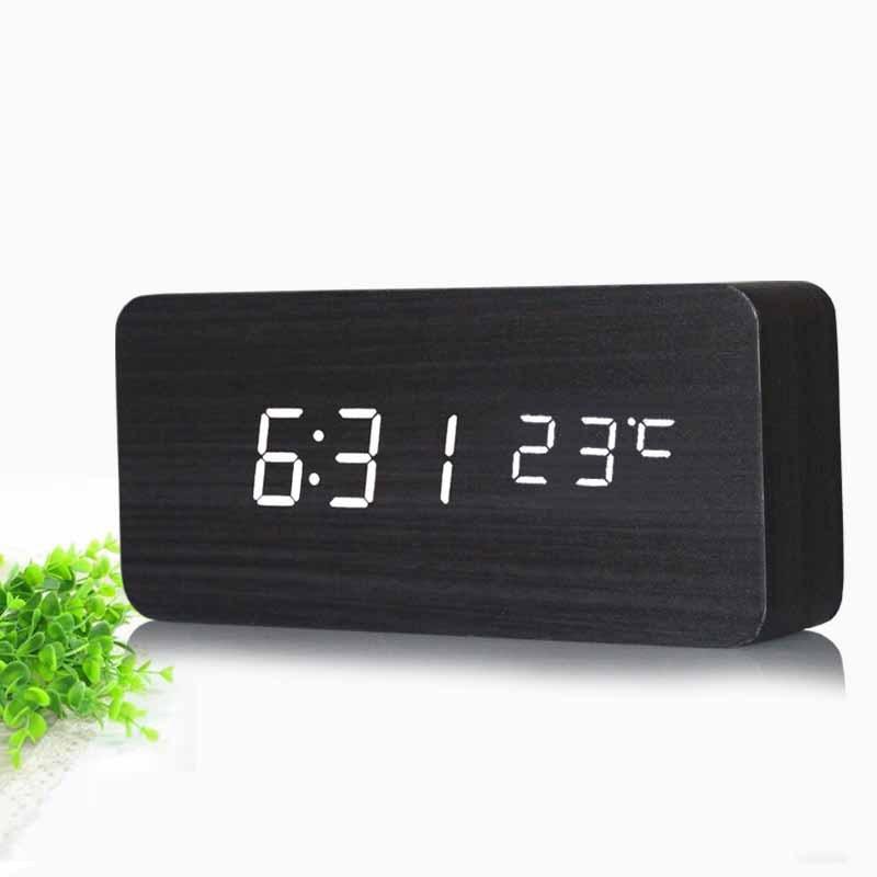 2015 Upgrade LED Alarm Clock Wood Clock LED display Temp Time Sounds Control electronic desktop Digital table clocks(China (Mainland))