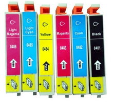 6Pieces Compatible Ink Cartridge T0481-T0486 For EPSON R200 R220 R300 R300M R320 RX500 RX600 RX620 Printer