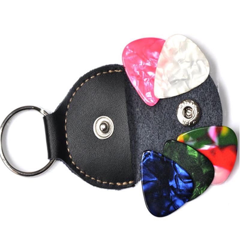 30pcs/Lot Real leather Picks Bag Guitar Bass ukulele Pick-Bags Genuine leather Keychain Pick-Holder Key Chain Bag Black Case(China (Mainland))