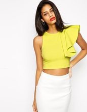Women Tops 2016 New Summer Fashion Black Yellow One Shoulder Ruffle Bustier Crop Top Fitness Short Tank Top Women Free Shipping(China (Mainland))