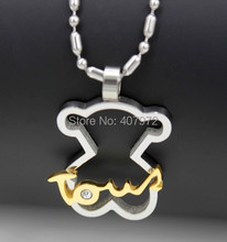 new 2014 fashion women and men bear necklace little bear necklaces love necklace with bear Pendants(China (Mainland))