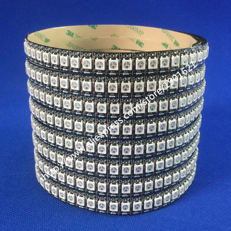 1M 3.ft WS2812 LED Strip Light 5050 SMD 144leds DC5V Dream Color Digital Strip Light Non-waterproof Black PCB(China (Mainland))