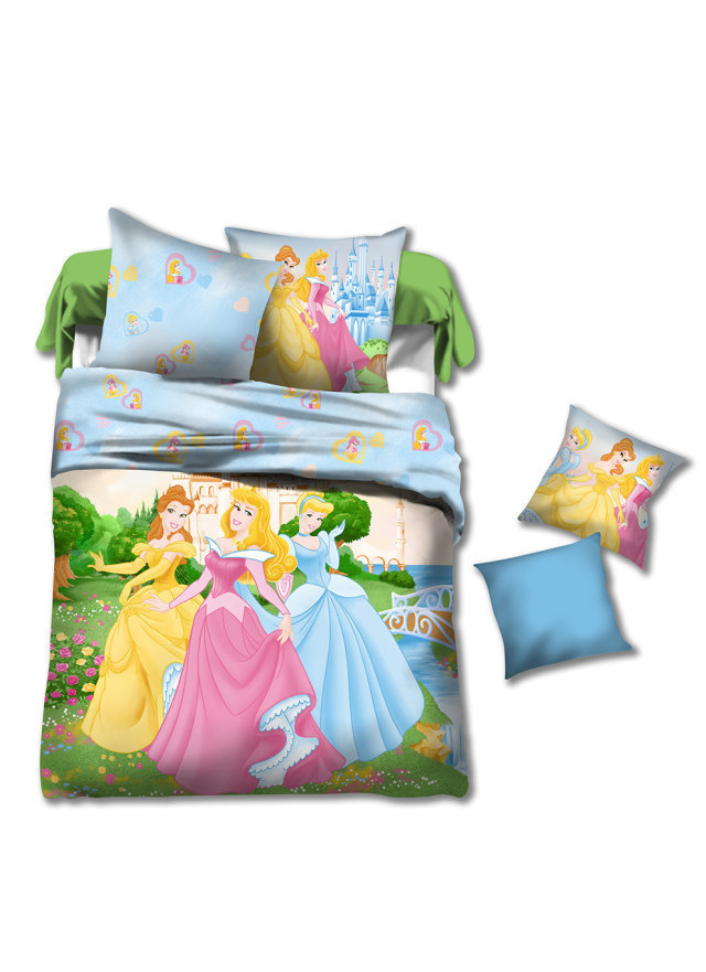 Princess kids girls cartoon bedding comforter set sets children twin size bedspread bed in a bag - Twin size princess bed set ...
