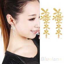 Women 2014 New Fashion Full Rhinestone Crystal Long Snowflake Flower Dangle Drop Tassel Earrings Gold Silver