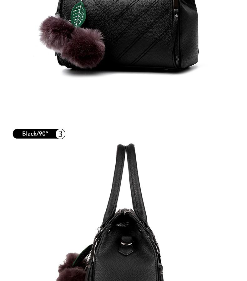 Korean Style Fashion Ladies Elegant Handbag Wove Pattern Fur Ball Women Casual Simple Shoulder Bag All-match Crossbody Bag