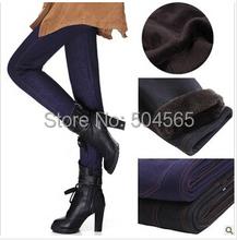 Women Winter Pants Thicken Fleeces Warm Leggings Fashion Solid Pencil Pants Boots Fake Denim Trousers Plus Size LG-170(China (Mainland))