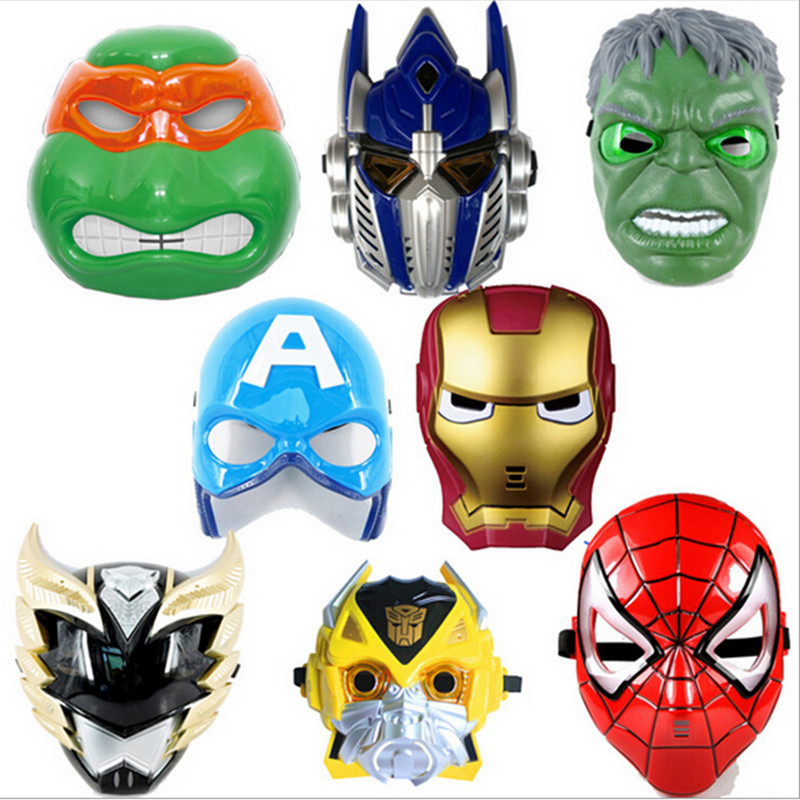 Superhero Masks Full Face Kids Game Cosplay Party Mask LED Eye Light Mask For Halloween Party Spider Man Mask Party Supplies(China (Mainland))