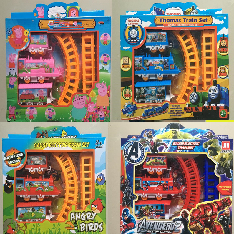 1 set Cute Pink Pig Electric Train Thomas And Friends Track Train Avengers Alliance Super Hero Action Figures Car Kid Gift Toy(China (Mainland))