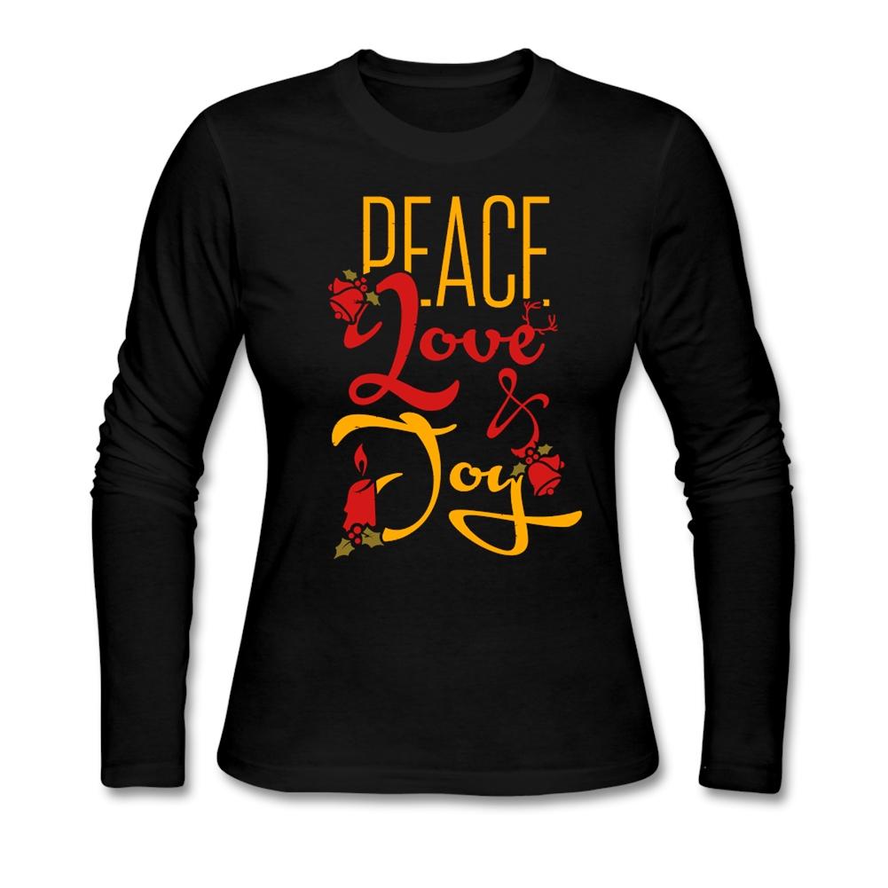Slim Fit Womens Camisetas Peace Love Joy Clothing T Shirts Femme Long Sleeve 100% Cotton Cheap Wholesale T-shirt For Female(China (Mainland))