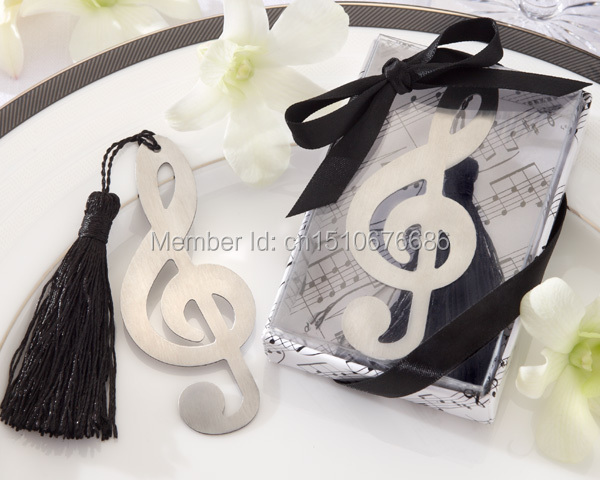 Free shipping 200pcs/lot factory price stainless steel music note shaped bookmark favors for wedding party supplies(China (Mainland))