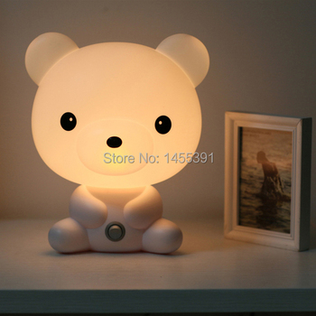 Hot SALE High Quality Cute Novelty White/Pink Bear Lovely Night Light Lamp For Study Work Free Shipping