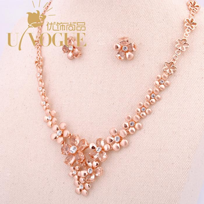 18K rose gold crystal glass flower jewelry sets wedding vintage bridal gift party brand quality new UVOGUE Viennois jewelry