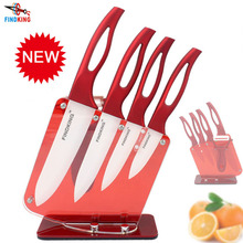 "FINDKING Beauty Gifts Zirconia red handle Ceramic Knife with holder kitchen Set 3"" 4"" 5"" 6"" inch+ Peeler+Holder kitchen knife(China (Mainland))"