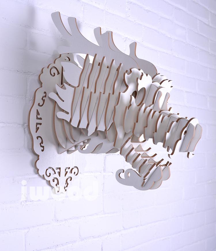 Здесь можно купить  White DIY wooden Dragon head for wall decoration,decorative objects,MDF decorative,Chinese dragon statue,traditional decorations  Дом и Сад