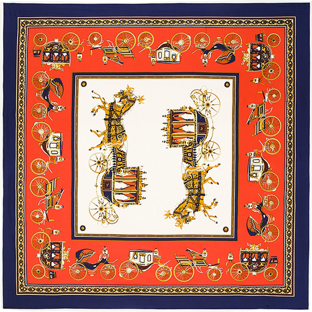 100 см * 100 см 100% саржевые шелковый евро марка лошадь и перевозки женщины косынка весна Femal шали шарфов B111