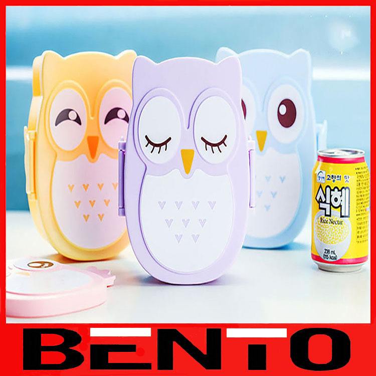 4 Style cartoon bento lunch box kids lunchbox plastic food containers microwave cutlery set(China (Mainland))
