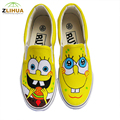 LUC New Cartoon Graffit Hand Painted Canvas Shoes for Boys Girls kids Shoes Low To Help