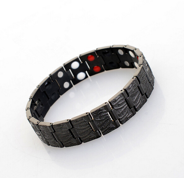 4in 1 Mens Stainless Steel Titanium ion magnetic germanium energy Power Hologram Health Balance bracelet with magnet Therapy(China (Mainland))