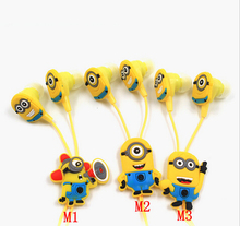 2015 New Boys Girls Cartoon Minions Cutest In Ear Earphone Headset (noise cancelling) 3.5mm Jack