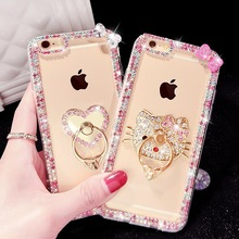New Luxury Crystal Rhinestone Diamond Kitty Heart Ring Clear TPU Phone case for iPhone 7 7plus 6 6s plus 5 5s SE 4 4s case Cover(China (Mainland))