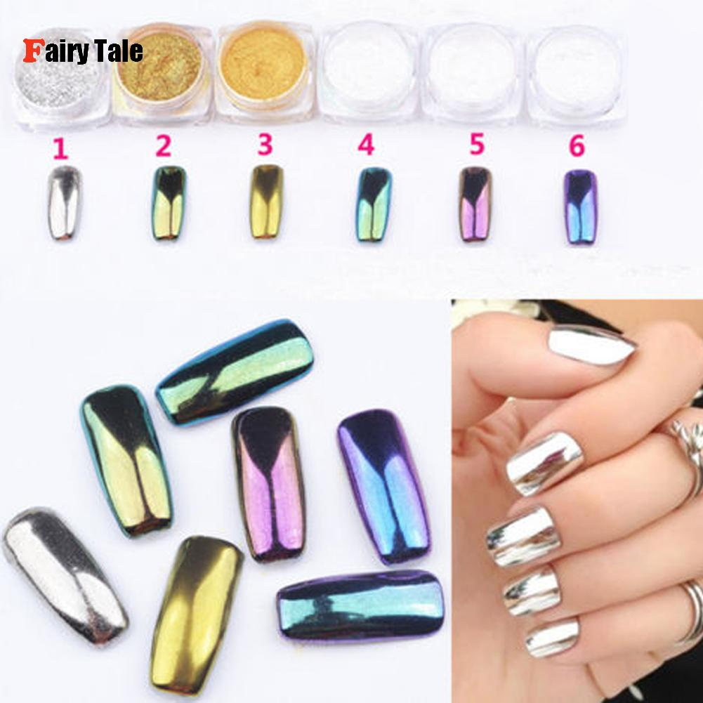 Mirror Chrome Effect Nail Glitter Powder Dust Glitter Shimmer Colorful Nails Pigment Nail Art Decorations 6 Colors Choice(China (Mainland))