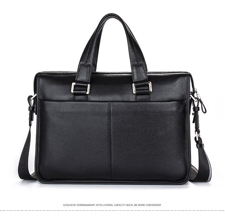 "100% Genuine Leather Men's Bag, Cowhide Shoulder Bags, Business 14"" La"