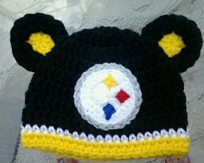 Retail 2015 Hand Crochet Pittsburgh Steelers Hat Infant Boy Beanie for 3-6Months Free Shipping(China (Mainland))