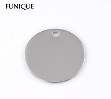 FUNIQUE 10PCs Silver Tone Round Stainless Steel Dog Tags Pendants Stamping Blanks 30mm Dia For Necklaces  Jewelry Making DIY(China (Mainland))