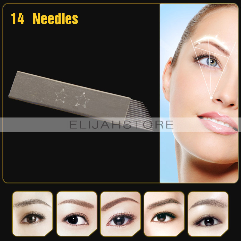 New High Quality JM611D-X3 50Pcs/Lot Permanent Makeup 14-Pin Manual Makeup Needles Blades flat For Eyebrow Tattoo Pen Machines(China (Mainland))