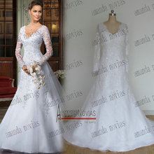 2015 New Model Amanda Novias Keyhole Back 100% Real Photos Long Sleeve Wedding Dress NS855 casamento(China (Mainland))