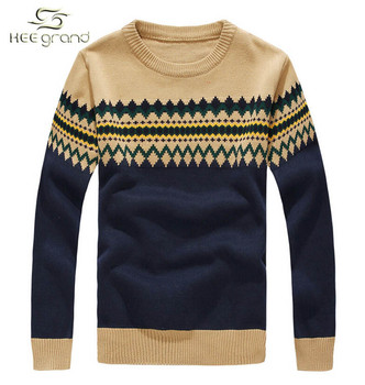 Men's Sweater 2015 Autumn & Winter Hot Sale Casual Slim O-Collar Fashion Pattern Cardigan Pull Homme M-XXL 4 Colors MZM298