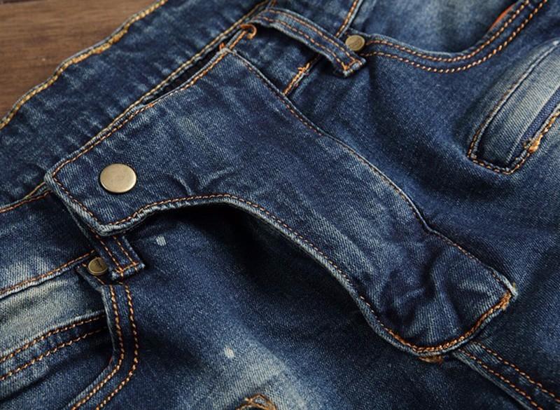Famous Brand Distressed Motorcycle Jeans Men Denim Hiphop Joggers Ink Splash Designer Slim Fit Ripped Biker Skinny Jeans Pants