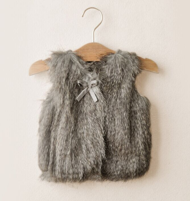 5pieces/lot Autumn/winter bow decoration Children's Girls Fur Vest Kids Knitted Waistcoats Kid cardigans, LX603(China (Mainland))