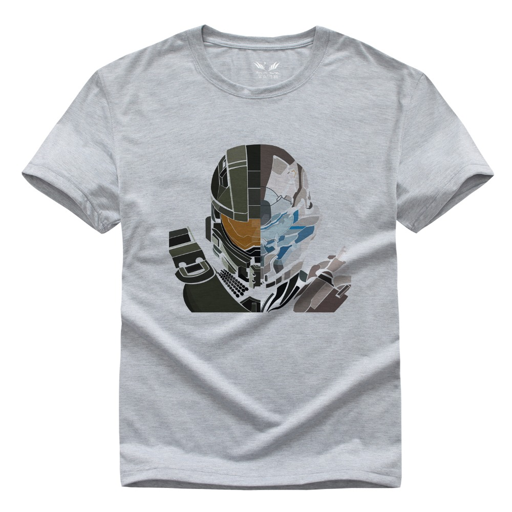 Original Design HALO Master Chief Print Fashion Style Casual T-shirt homme Short Sleeve anime t shirt euro 2016(China (Mainland))