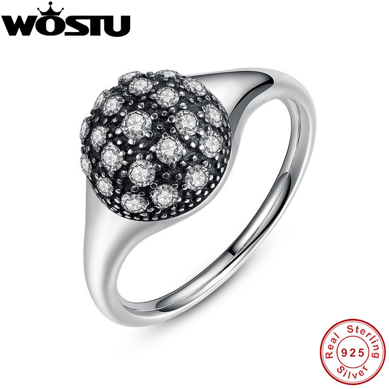 WOSTU Brand Real 100% 925 Sterling Silver Engagement Rings With Clear CZ For Women Luxury Original Fine Jewelry Gift(China (Mainland))