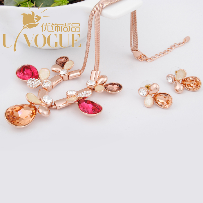18K gold plated pink crystal flower jewelry sets wedding for bridal vintage romantic neckace pendant earrings UVOGUE Viennois