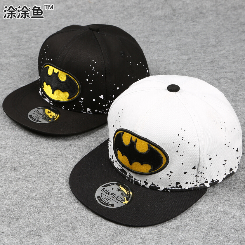2016 Fashion Kids Cartoon Snapback Caps, Flat Brim child baseball cap, embroidery children spiderman hats, Cute batman hat(China (Mainland))
