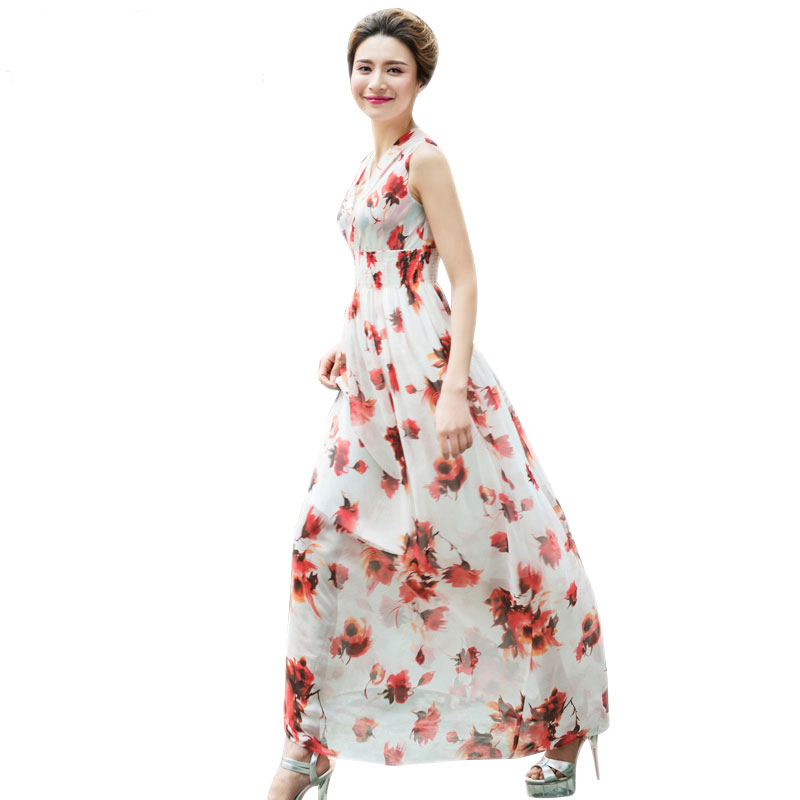 Elegant Women Summer Sleeveless Long Chiffon Dresses 2016 Spring New Plus Size Sexy Red Floral Print White Dress 2095