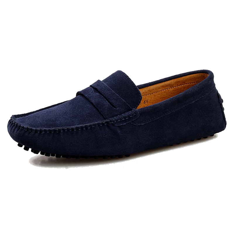 new 2015 casual suede loafers black leather