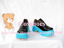 Custom made short blak and blue miku Shoes boots from vocaloid Cosplay