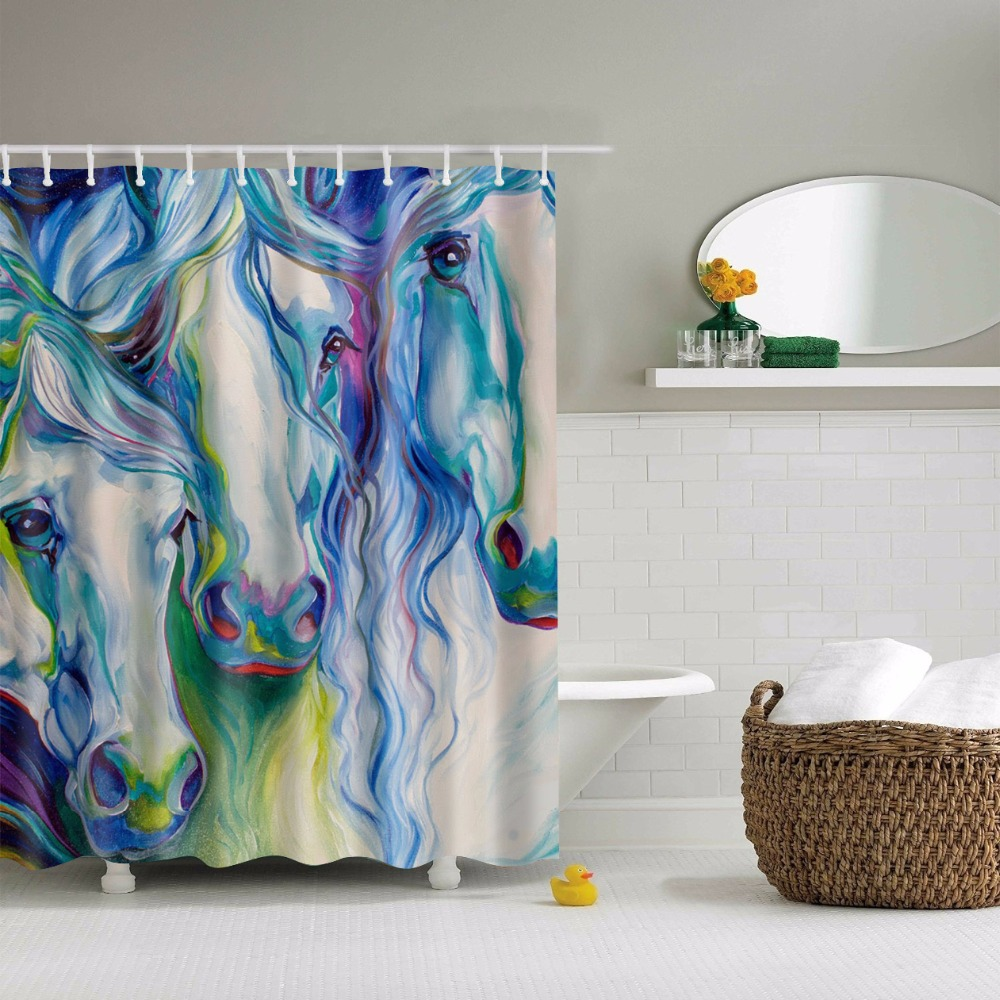 Online Get Cheap Horse Shower Curtain Aliexpress