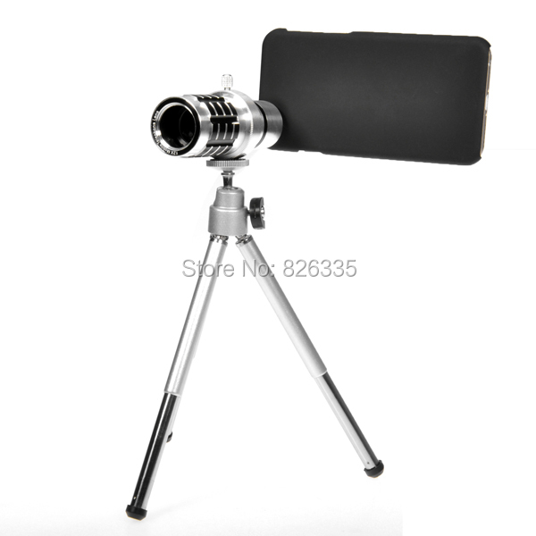 Silver 12X Optical Glass Camera Telescope Monocular Phone Lens for iPhone 6 4.7inch with Holder
