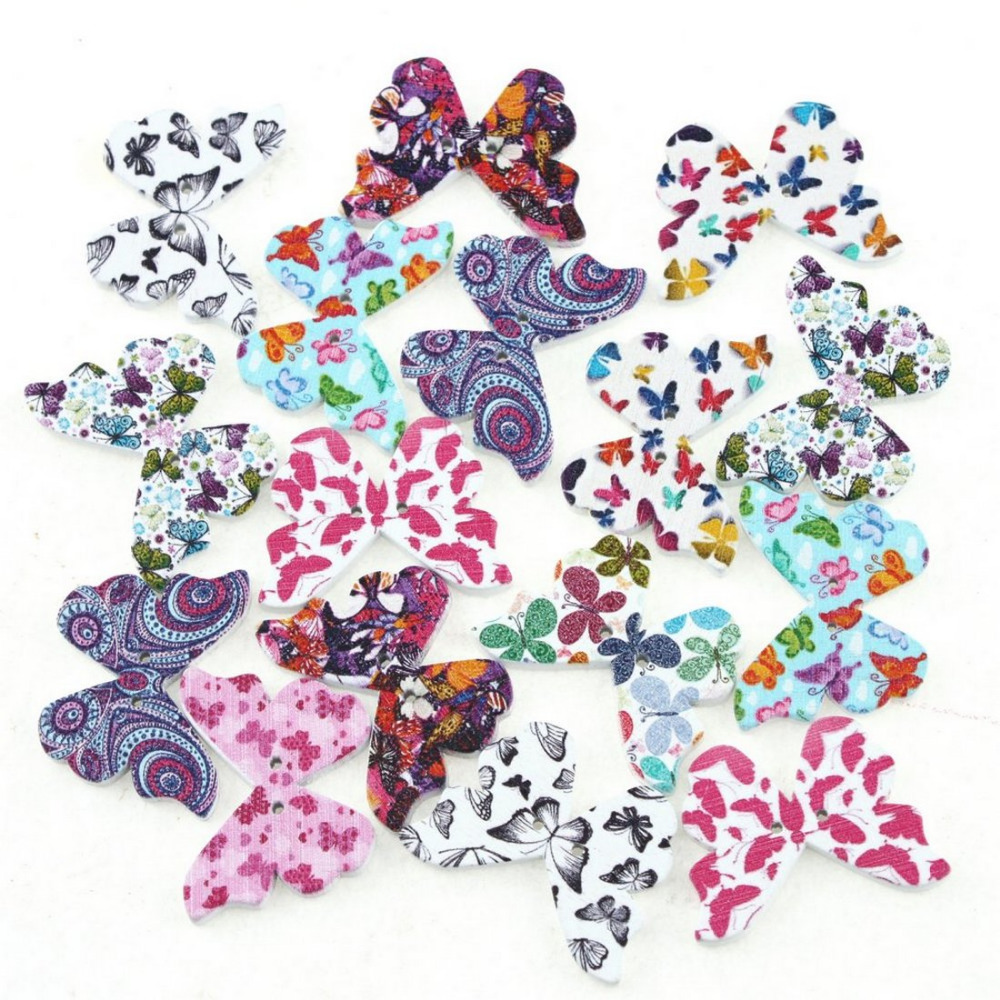 30Pcs Random Colors Wooden Butterfly Shape Crafts DIY Sewing Scrapbook Button(China (Mainland))