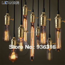 Free shipping E27/110v/220v/60w Copper lamp holder pendant light bulb 9 different type of Edison bulb with copper knob and wire(China (Mainland))