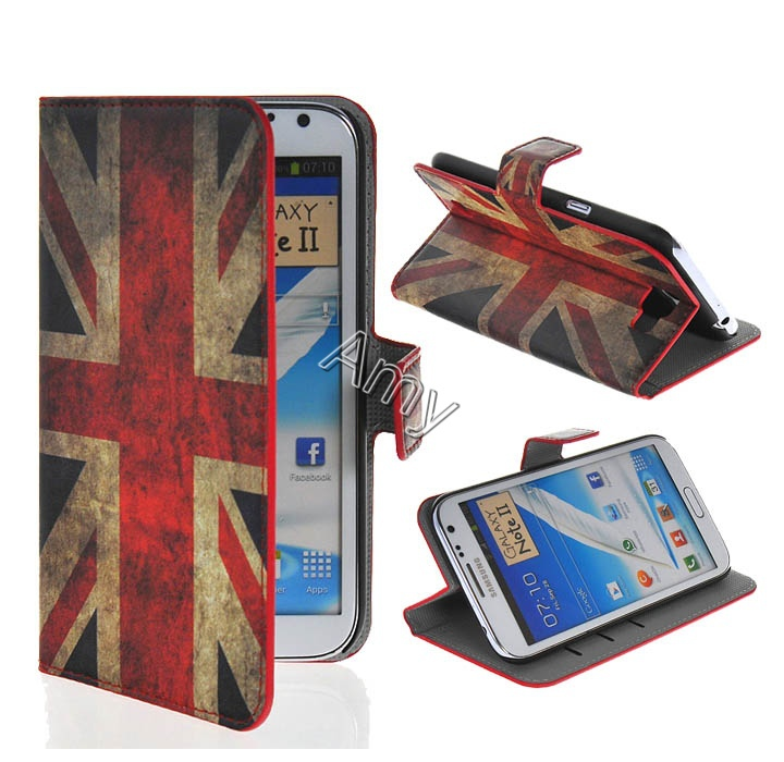 brand case For samsung galaxy note 2 N7100 7100 Perfect protection mobile phone camera module+phone cases Wallet Design uk case(China (Mainland))