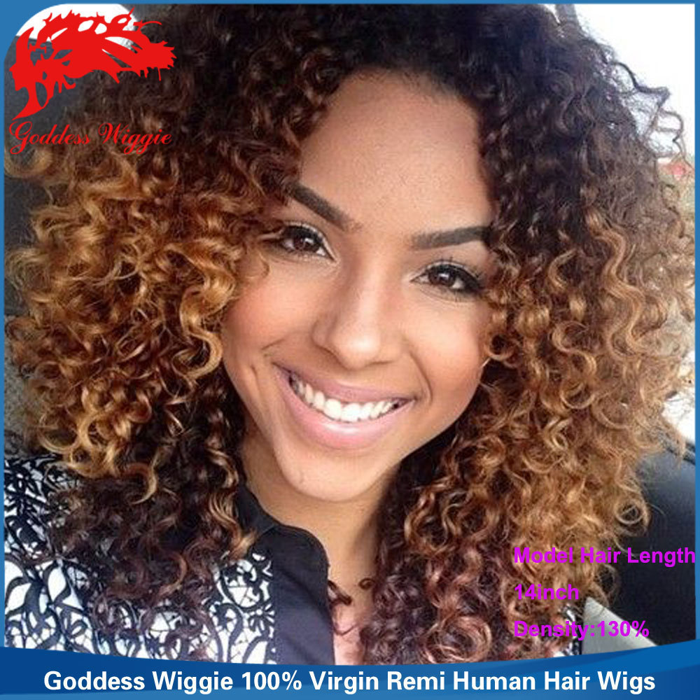 Ombre Lace Front Curly Wigs Bleached Knots Full Lace Afro