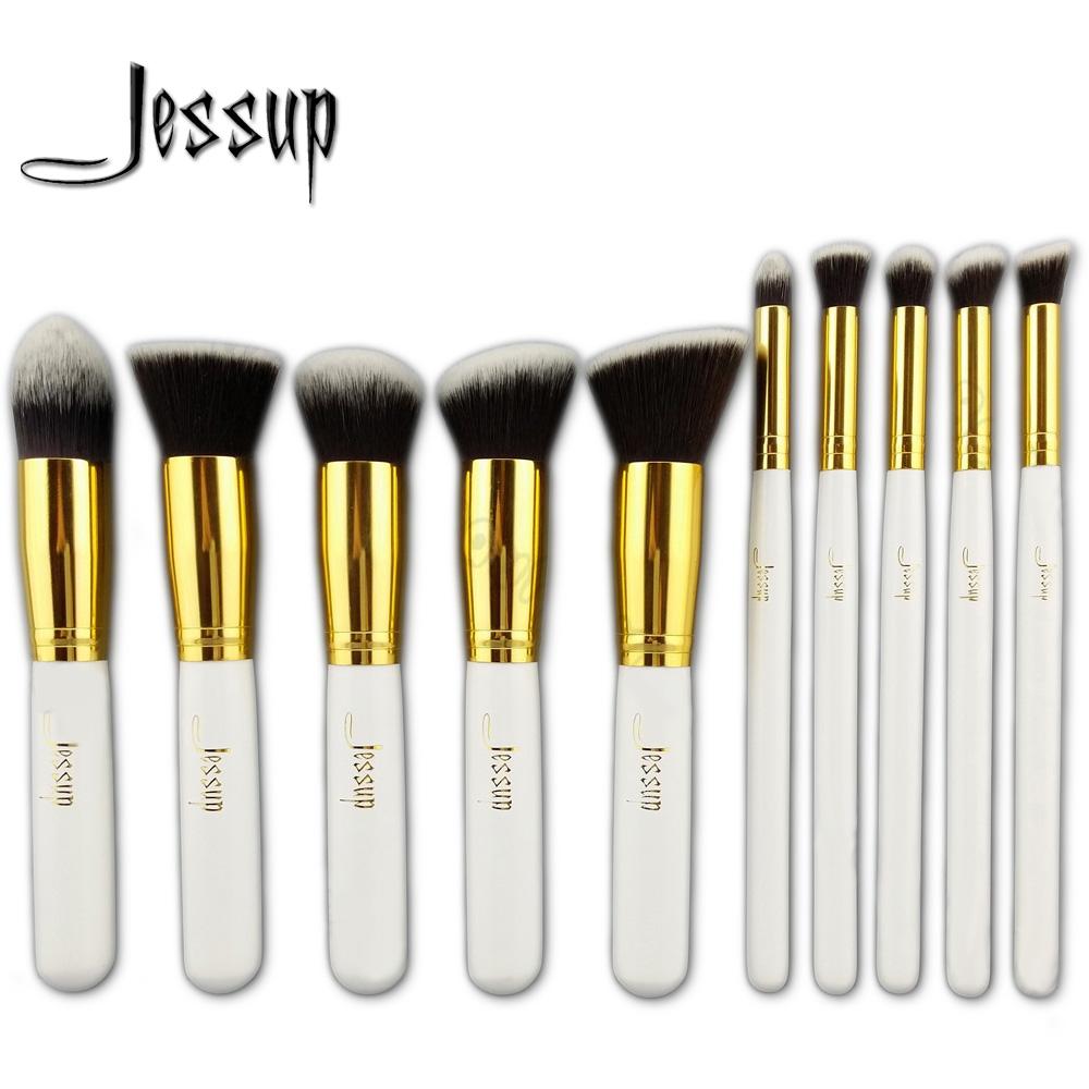 Jessup 10Pcs Professional Make up Brushes Set Foundation Blusher Kabuki Powder Eyeshadow Blending Eyebrow Brushes White/Gold(China (Mainland))